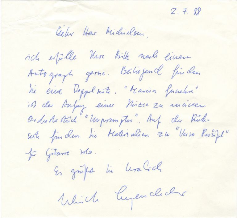 Autograph letter signed in blue ink to Dutch collector Peter Michielsen. Ulrich LEYENDECKER.