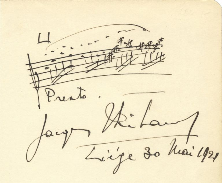 Autograph musical quotation signed in full. Jacques THIBAUD.