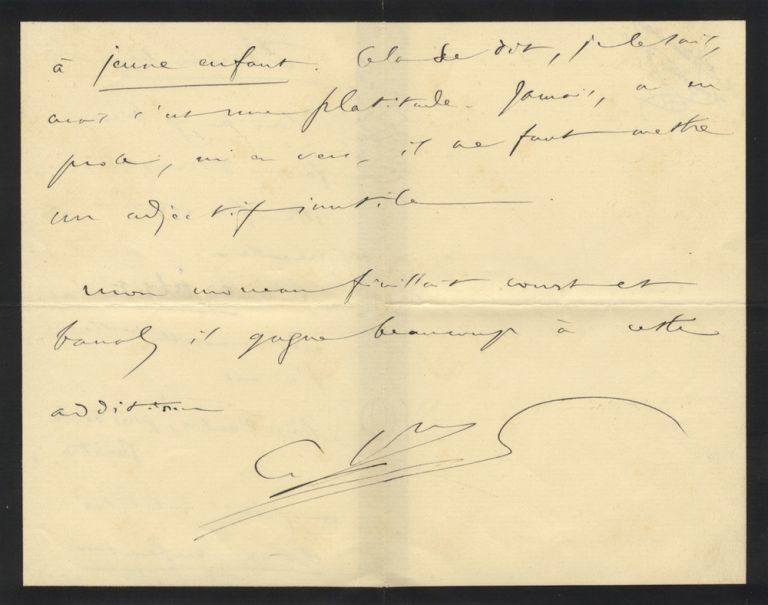 "Autograph letter signed ""C.Sns,"" quite possibly to his librettist. Camille SAINT-SAËNS."