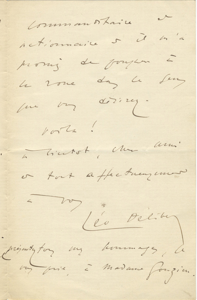 Autograph letter signed to an unidentified male correspondent, possibly the composer Armand Gonzien. Léo DELIBES.