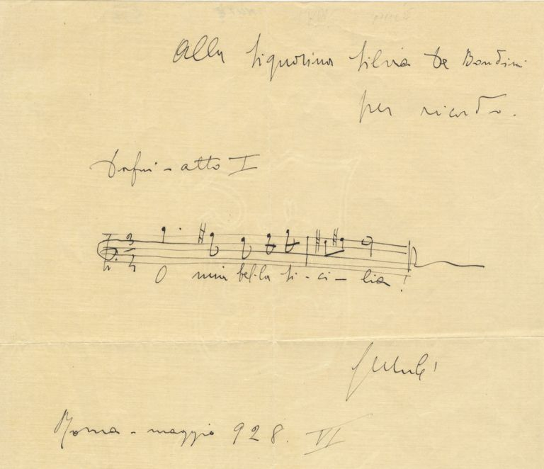 "Autograph musical quotation signed ""G Mulè"" and inscribed to the Italian artist Silvia de Bondini. Giuseppe MULÈ."