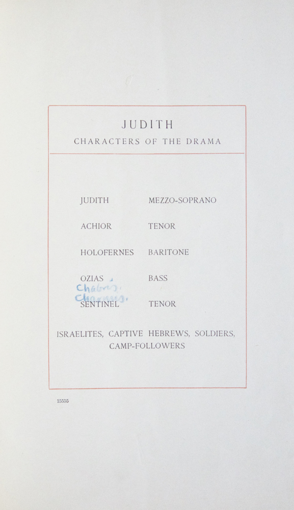 Judith Lyric Drama for Soli, Chorus and Orchestra Text by William Chauncy Langdon. [Piano-vocal score]. George W. CHADWICK.