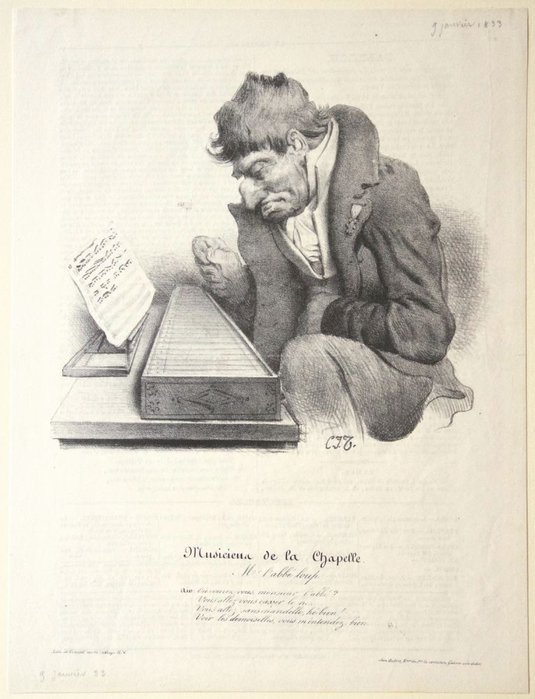 Musiciens de la Chapelle. M. l'Abbé Loup. Lithograph by Bernard after Charles Joseph Traviès de Villers depicting a gentleman in formal dress, seated, plucking a psaltery. PSALTERY.