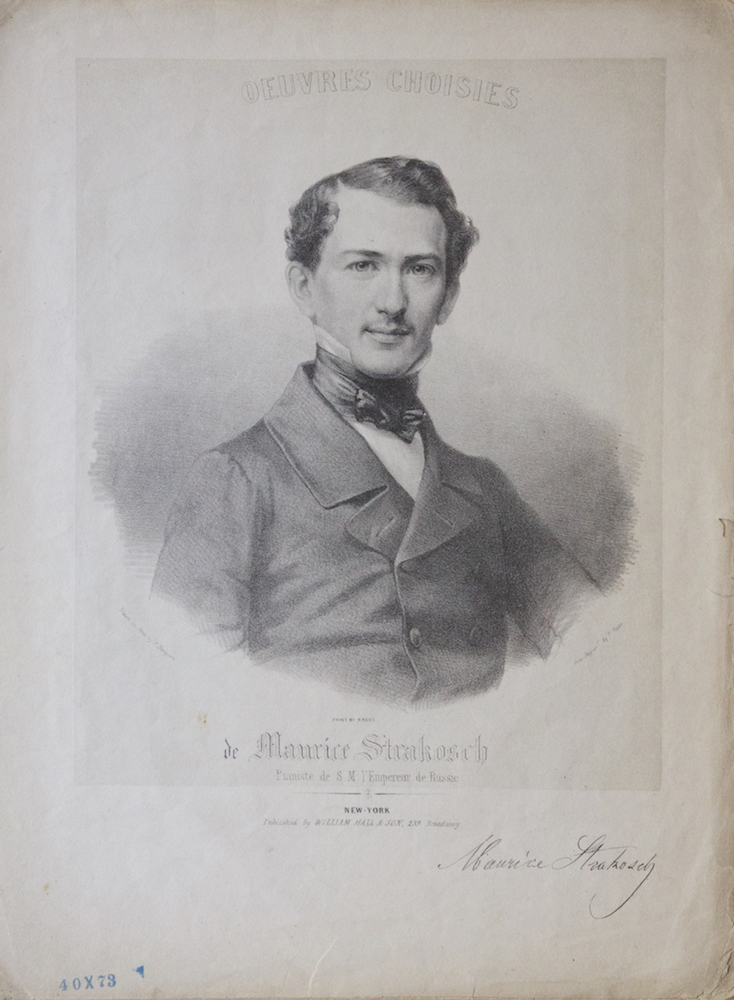 """Half-length portrait lithograph by Francis Davignon [D'Avignon] after a daguerrotype by P. Haas of the pianist in formal dress on the cover of his """"Postillon Polka,"""" the 7-page score of which is included. Maurice STRAKOSCH."""