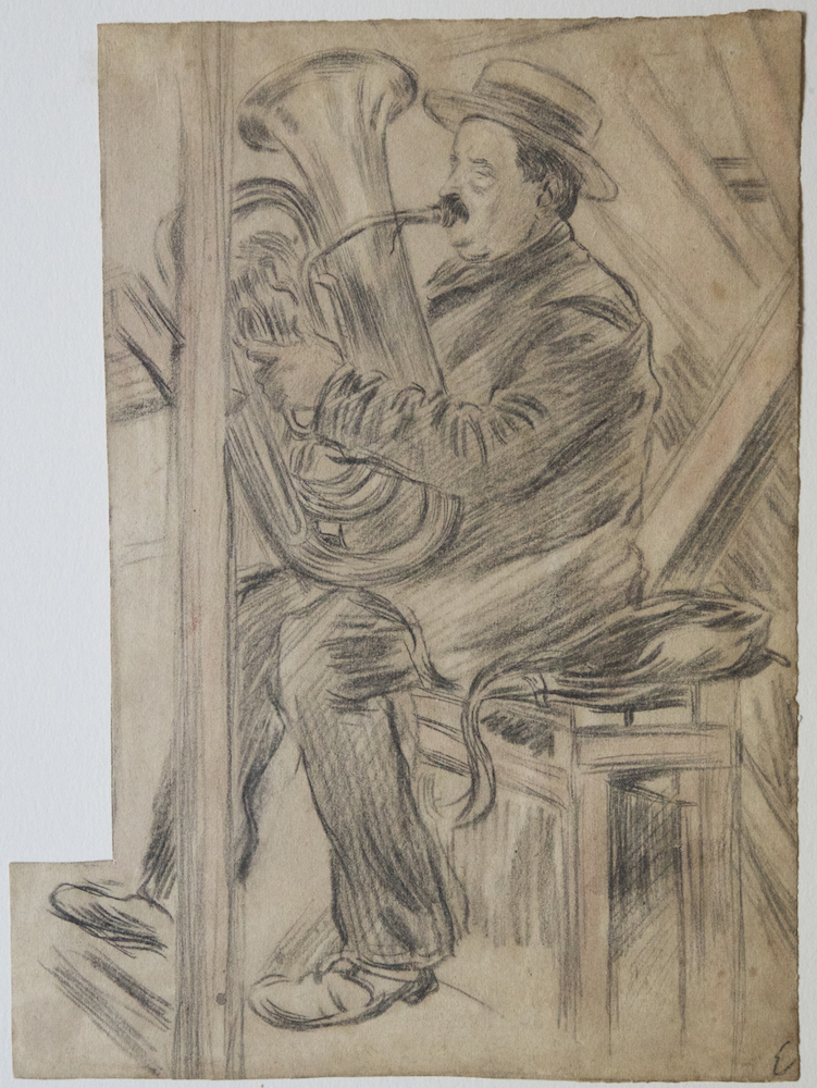 Charming drawing of a tuba player by the French artist Edmond Couturier (1871-1903). The subject, wearing a boater, is sitting on a bench inside what might be a music hall. TUBA.