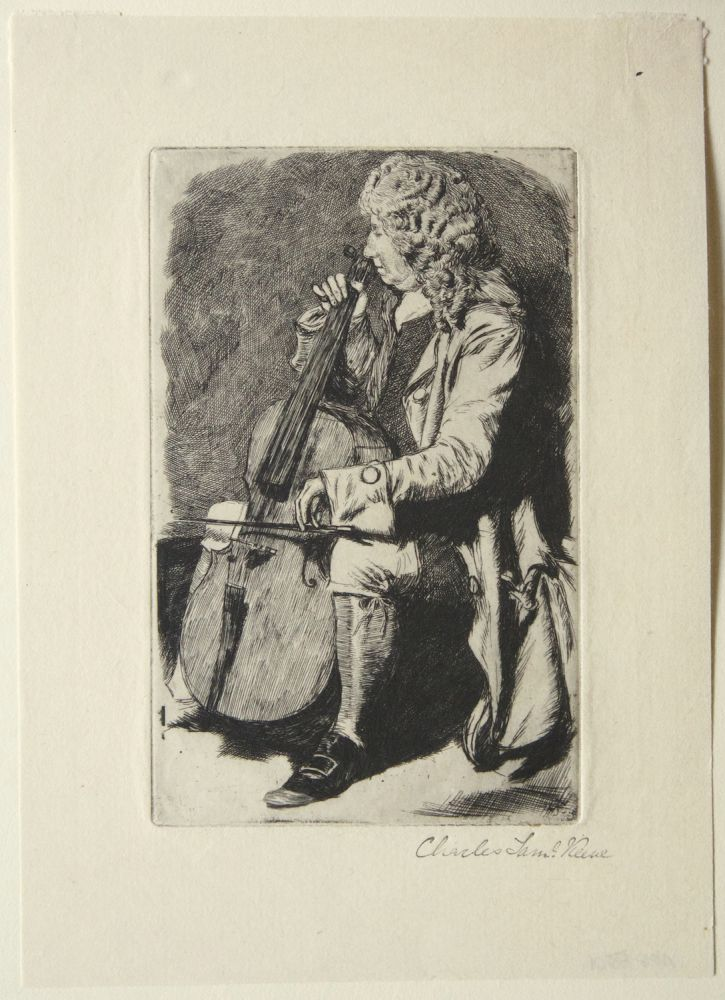 Fine etching of a cello player by British artist Charles Keene (1823-1891). The subject, in a wig and long coat, is depicted seated playing his instrument. VIOLONCELLO.