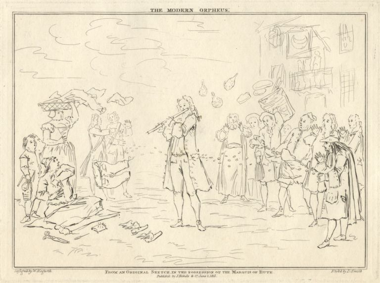 The Modern Orpheus From an Original Sketch in the possession of the Marquis of Bute. Etching by D. Smith after the drawing by William Hogarth (1697-1764) depicting Weideman playing his flute in the open air to a group of onlookers including George II and Sir R. Walpole. Carl Friedrich ?-1782 WEIDEMAN.