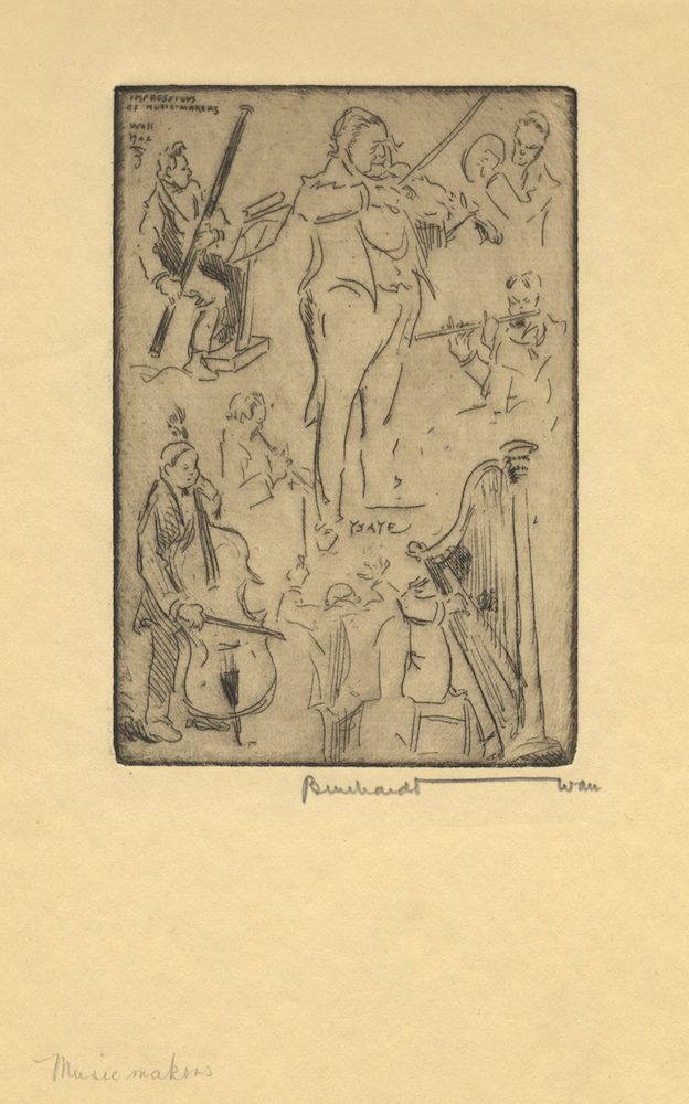 Impressions of Music-Makers. Etching of a group of musicians including Ysaÿe by Bernhardt Wall (1872-1954). Eugène YSAŸE.