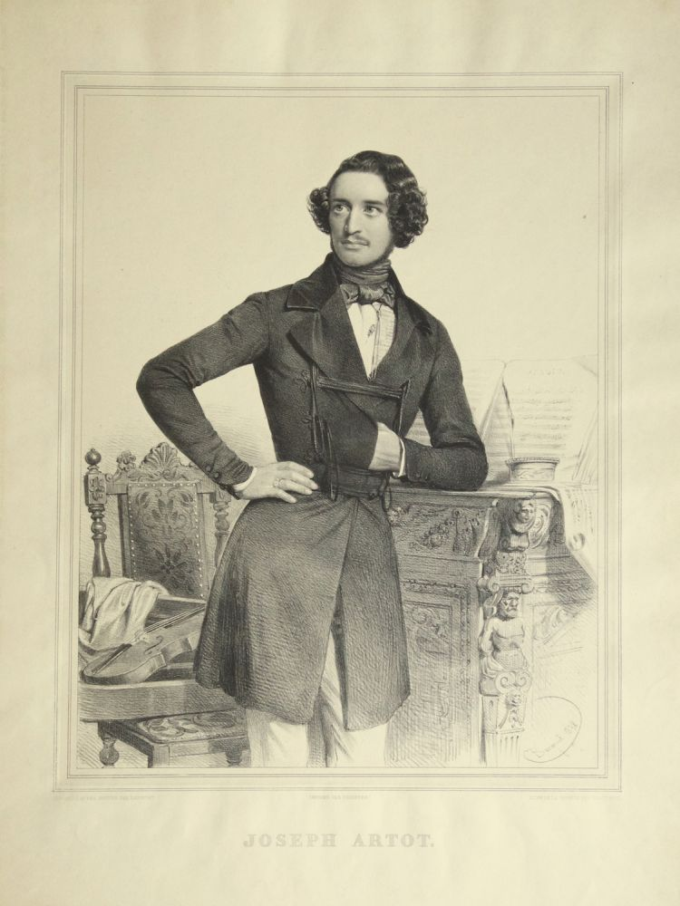 "Fine large three-quarter length lithograph by Charles Baugniet (1814-1886) of the violinist in formal dress, leaning in Napoleonic stance on a decoratively carved sideboard on which rest an apparent musical manuscript in progress entitled ""Adagio,"" an inkpot, and quill pen, with a violin on a carved chair to the subject's left. Alexandre ARTÔT, Joseph Montagny."