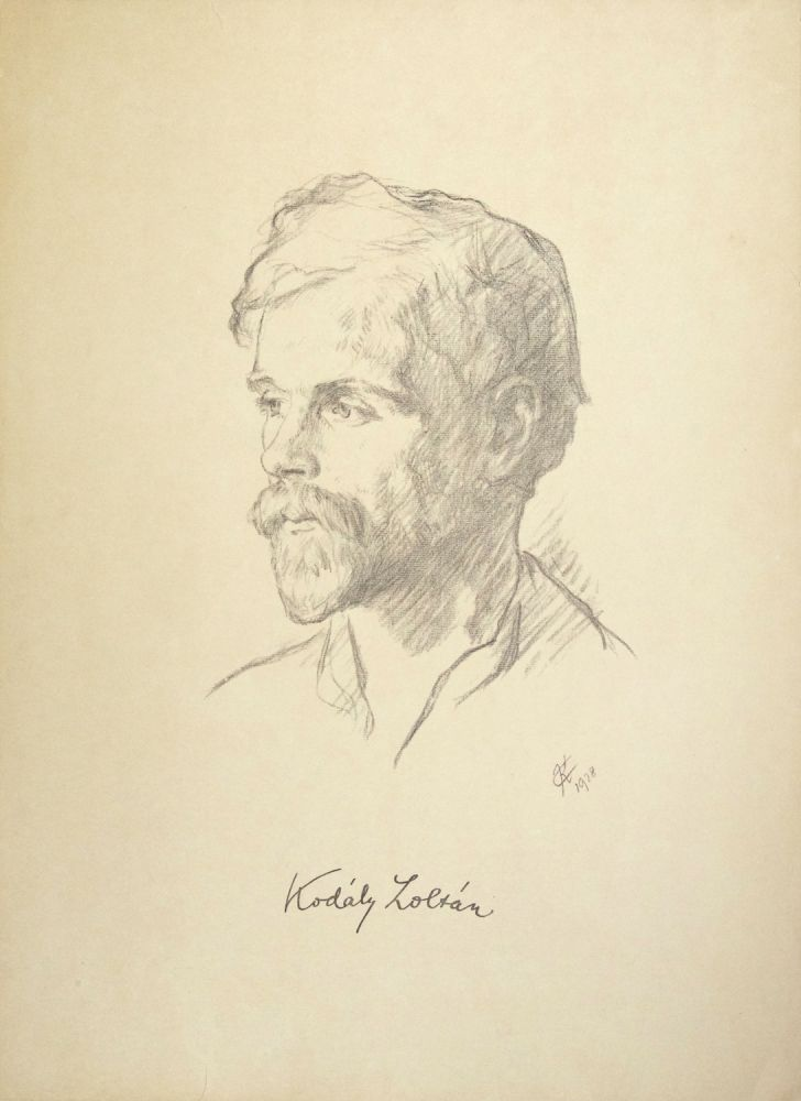 Attractive large photo-lithograph after a drawing by the Hungarian artist Caesar Kunwald, with a facsimile of the composer's signature to lower portion. Zoltán KODÁLY.