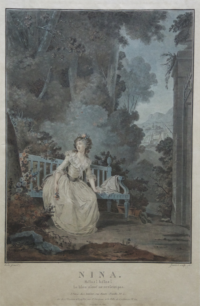 "Fine large coloured engraving of Dugazon as Nina in the opera ""La Folle par Amour"" by Nicolas Dalayrac (1753-1809). Engraved by Jean-François Janinet (1752-1814) after Claude-Jean-Baptist Hoin (1750-1817). Louise-Rosalie DUGAZON."
