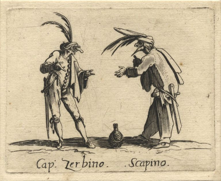 Captain Zerbino and Scapino. Etching depicting the two well-known Commedia dell'arte figures in animated conversation over a flagon of wine. Ca. 1630, after Callot. Jacques CALLOT.