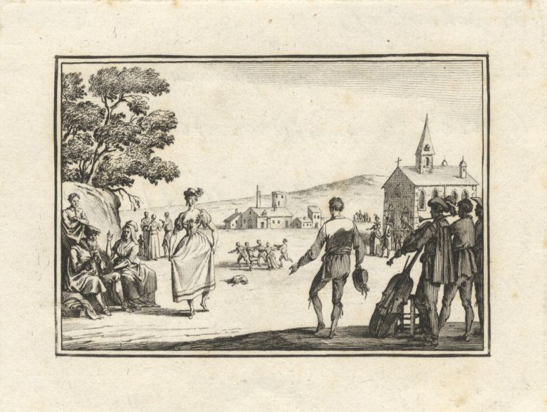 Etching of a 17th century couple dancing with a group of musicians performing in the right foreground, a small group of people dancing in the round in the middleground, a church and other buildings in the background. Ca. 1800, after Callot. Jacques CALLOT.