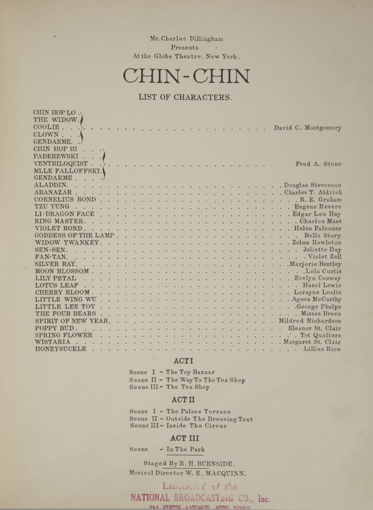 Chin-Chin. Words by Anne Caldwell. [Piano-vocal score]. Ivan CARYLL.