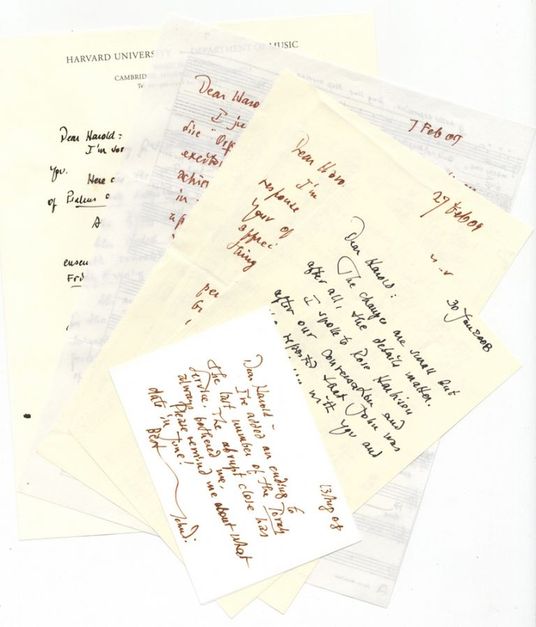 Collection of 12 autograph letters dating from January 2008 to June 2009 discussing a number of the composer's own works including the Friday Evening Service, the Torah Service, O To Be a Dragon, 2 Psalms, etc., all to the award-winning American choral conductor Harold Rosenbaum. Yehudi b. 1929 WYNER.