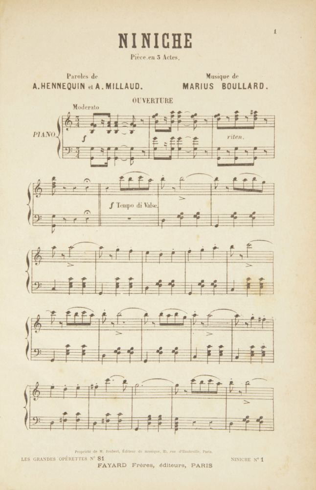Niniche Pièce en 3 Actes. Paroles de A. Hennequin et A. Millaud. [Piano-vocal score]. Marius BOULLARD.
