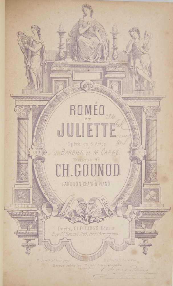 Roméo et Juliette Opéra en 5 Actes. de J. Barbier et M. Carré... Partition Chant & Piano. Arrangée par H. Salomon. [Piano-vocal score]. Charles GOUNOD.