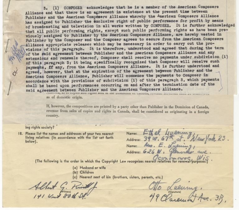 """Contract for the publication of Luening's """"Behold, the Tabernacle of God"""" by Broadcast Music, dated January 14, 1947 and with Luening's address at 49 Claremont Avenue in New York in typescript at head, completed in typescript and ink, and signed twice by the composer. Otto LUENING."""