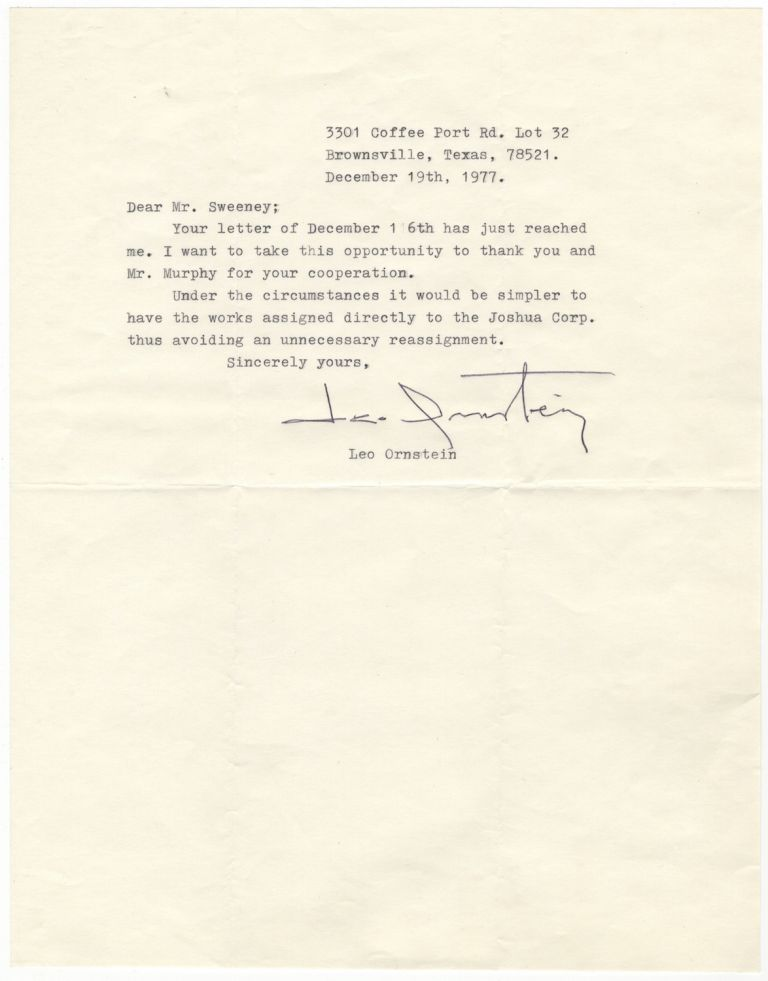 "Typed letter signed to ""Mr. Sweeney"" dated December 19, 1977 relative to the assignment of rights of publication. Leo ORNSTEIN."