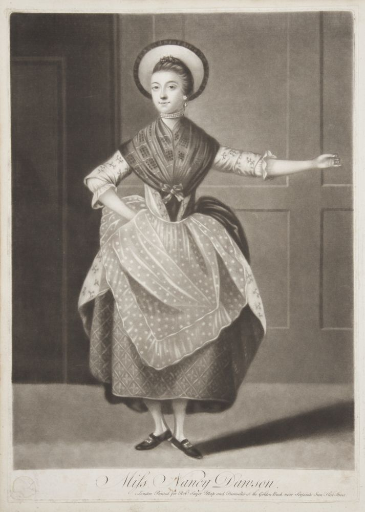 Original mezzotint engraving by Michael Jackson of Dawson performing her famous hornpipe dance. After a painting by an unknown artist held by the Garrick Club in London. Nancy DAWSON.