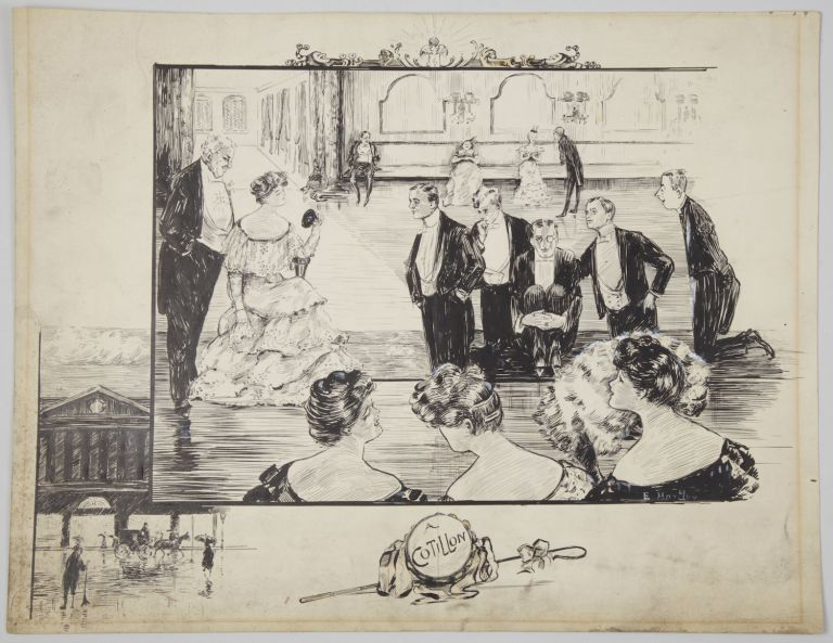 """A Cotillon."" Original pen-and-ink drawing signed E. Hortley. Most probably English. Undated, but ca. 1900-1910. DANCE - Social."