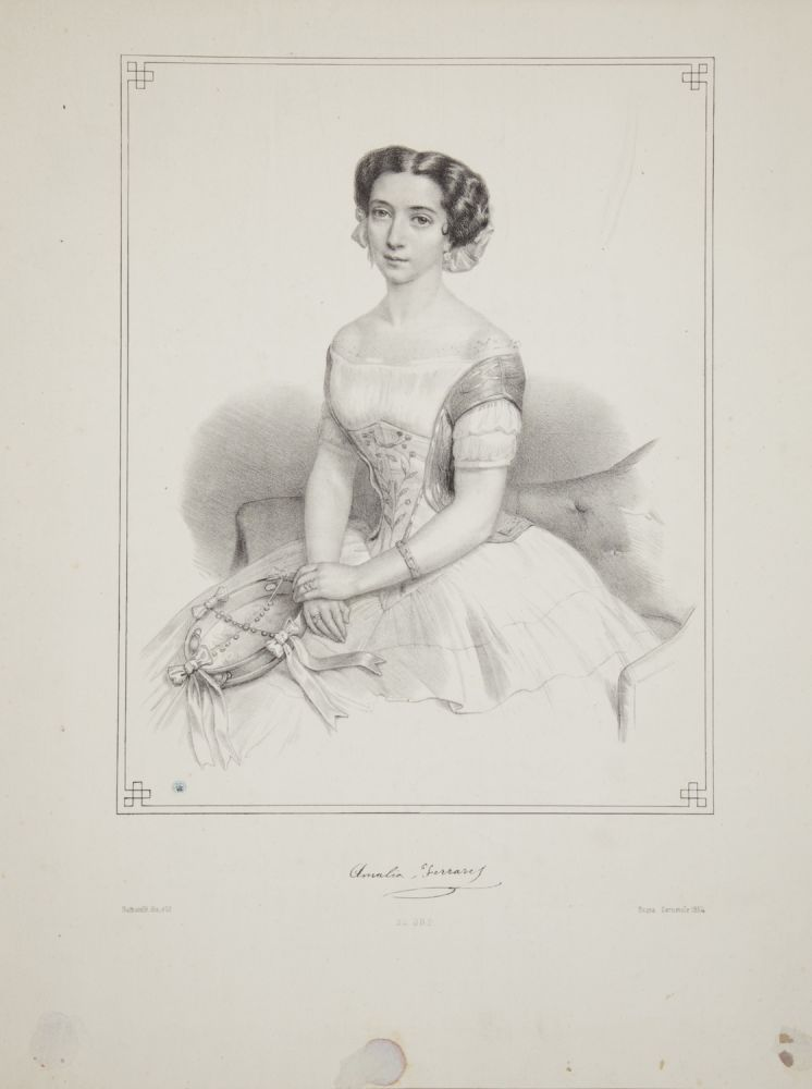 Original three-quarter length lithograph by Battistelli. Amalia FERRARIS.