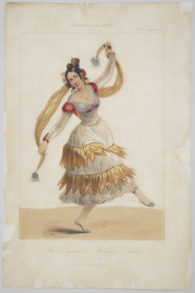 Bolera dansant les Mollares de Seville. Hand-coloured lithograph by Dollet after Blanchard. DANCE - 19th Century.