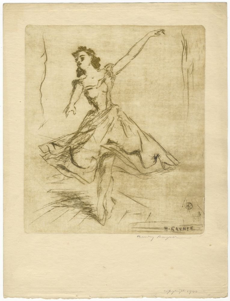 Drypoint etching of a ballet dancer. BALLET - 20th Century, Henry RAYNER.