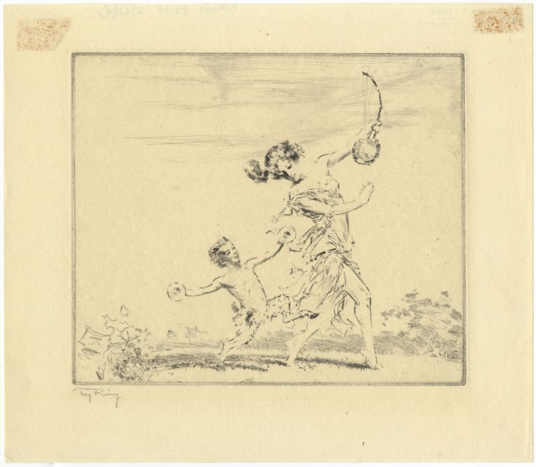 Original etching depicting a dancer holding a stringed instrument with a small satyr dancing alongside her holding a pair of cymbals. DANCE - 20th Century, Troy Kinney.