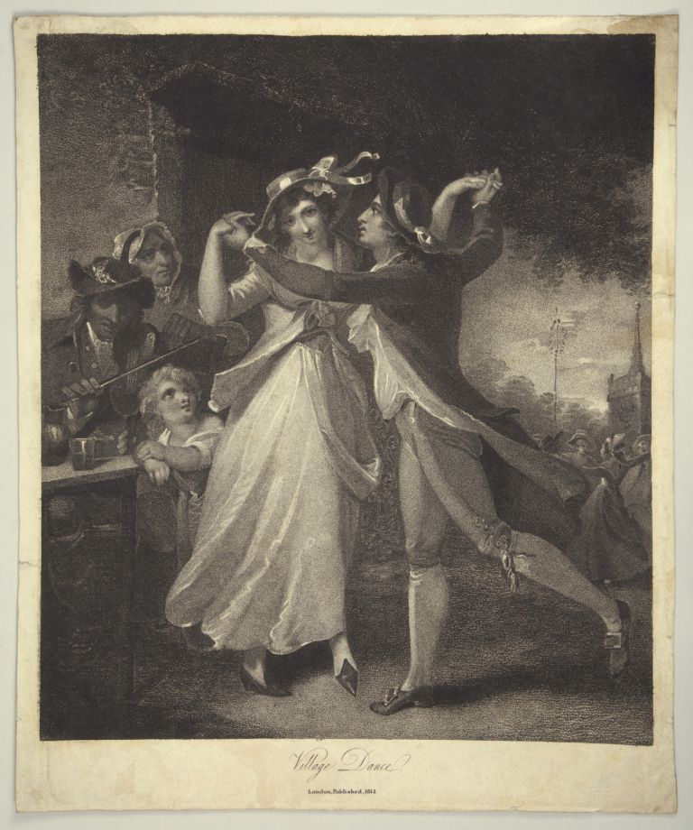 "Mezzotint entitled ""Village Dance."" London, 1814. DANCE - 19th Century."