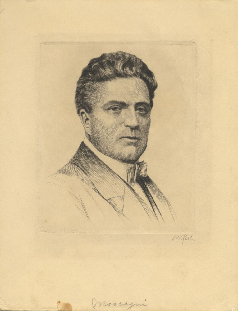 Bust-length portrait etching and drypoint of the composer by the German artist Waldemar Pech (1911-?). Pietro MASCAGNI.