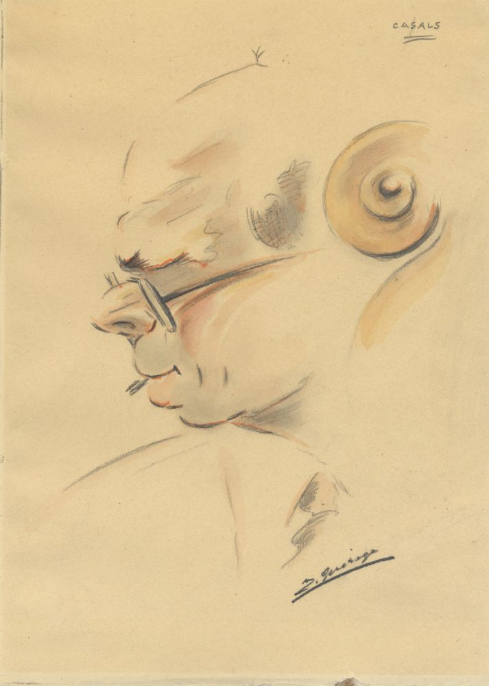Original bust-length portrait drawing of the famed Catalan cellist in profile with 'cello scroll in foreground. Pablo CASALS.