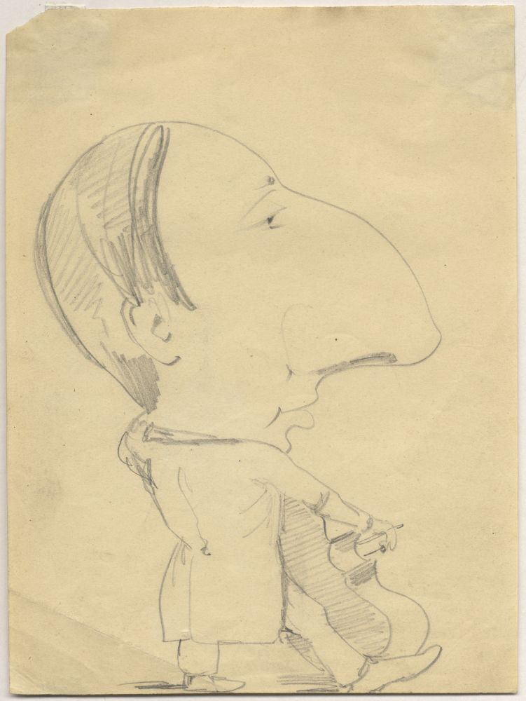 Original caricature drawing of Koussevitzky playing the double bass. Serge KOUSSEVITZKY.