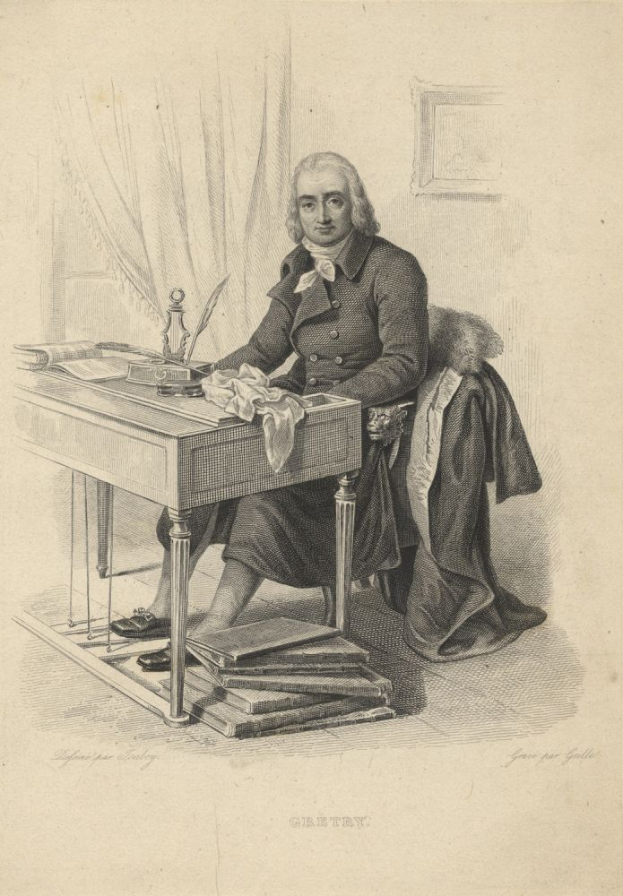 Engraving of the composer by Amadée Geille (fl. early 19th century) after Jean-Baptiste Isabey (1767-1855). André GRÉTRY.