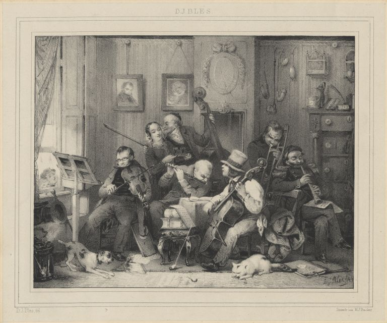 Lithograph of a group of 19th century instrumentalists by H.J. Backer after a drawing by David Joseph Blès (1821-1899). MUSICAL INSTRUMENTS.
