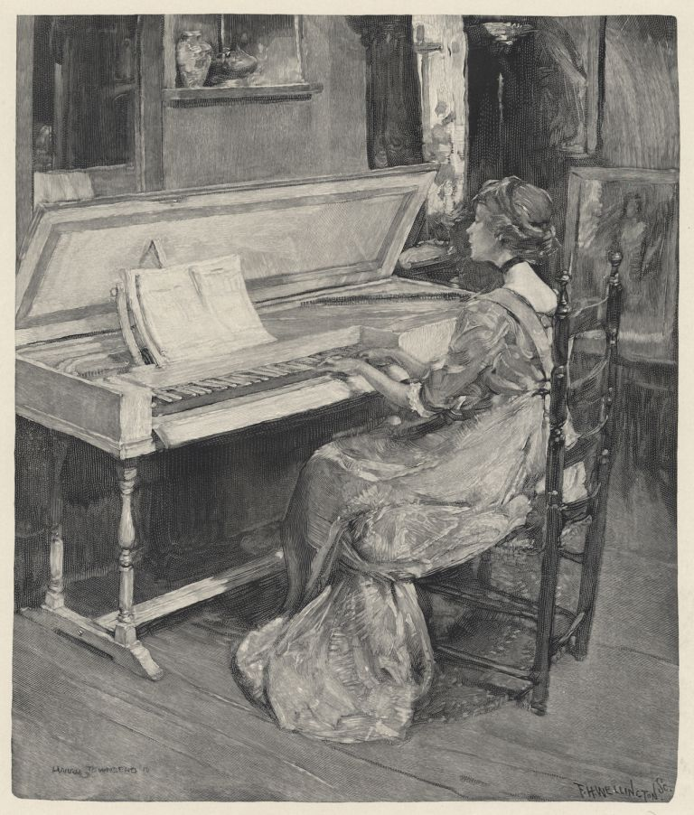 Wood engraving by Frank H. Wellington (1858-1911) after Harry Townsend (1879-1941) of a young woman playing one of the five white-lacquered Dolmetsch-Chickering clavichords. PIANO.