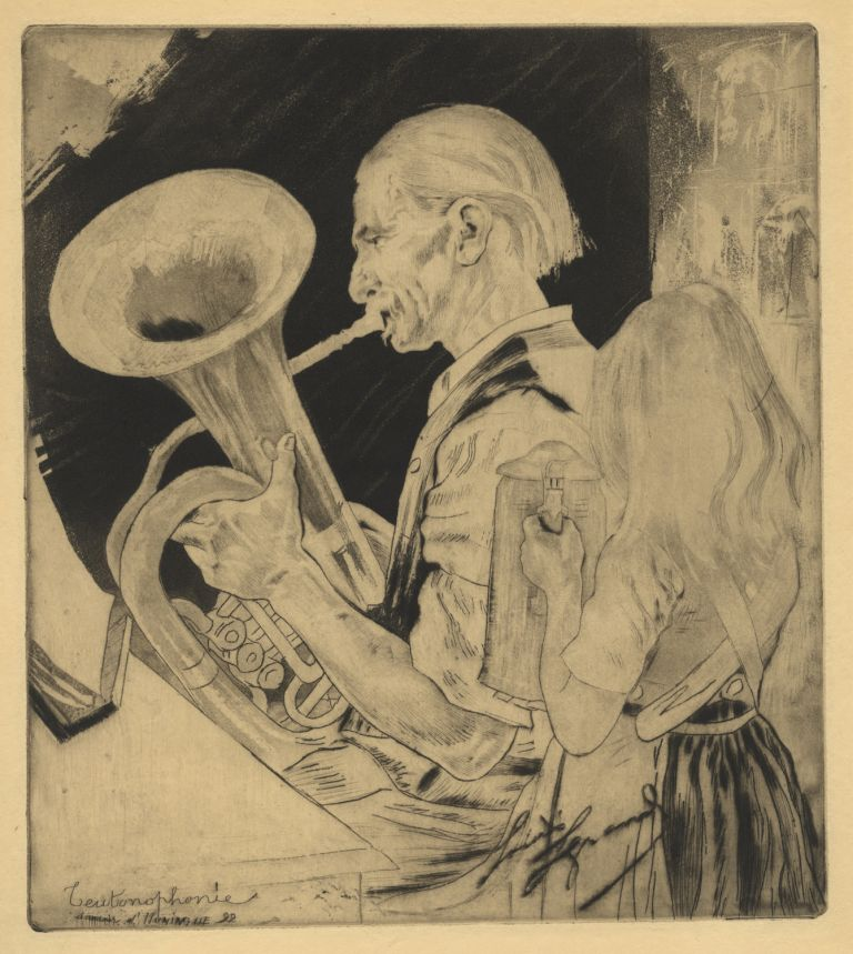 "Fine etching, drypoint, and aquatint entitled ""Teutophone: Souvenir d'Huningue 92."" By French artist Louis Legrand (1863-1941). TUBA."