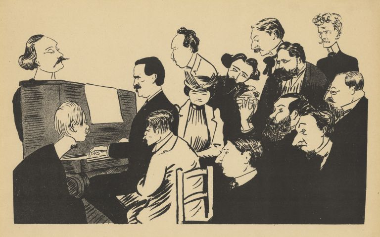 Lithographic caricature of a pianist, in all likelihood Vincent d'Indy, seated at an upright piano with 13 men and one woman gathered closely around the performer. By Charles Constantin (fl. late 19th-early 20th centuries). N.p., n.d., but Paris, ca. 1890. Vincent D'INDY.