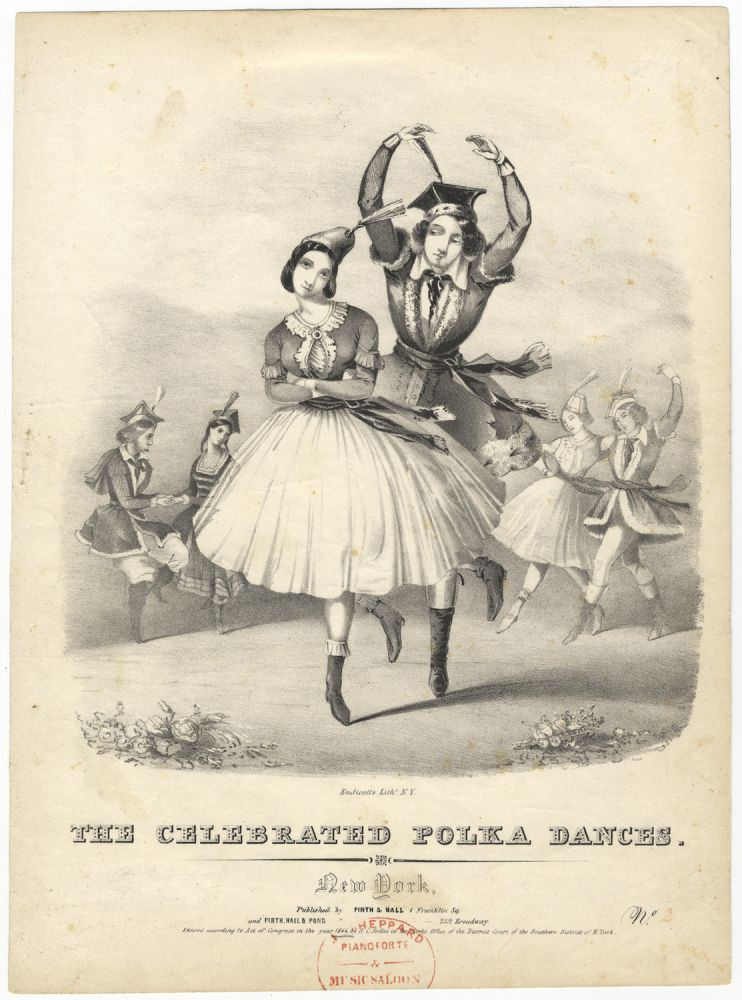 The Celebrated Polka Dances... No. [2]. Lithograph by Endicott of the dancers Grisi and Perrot. Carlotta GRISI, Jules PERROT.