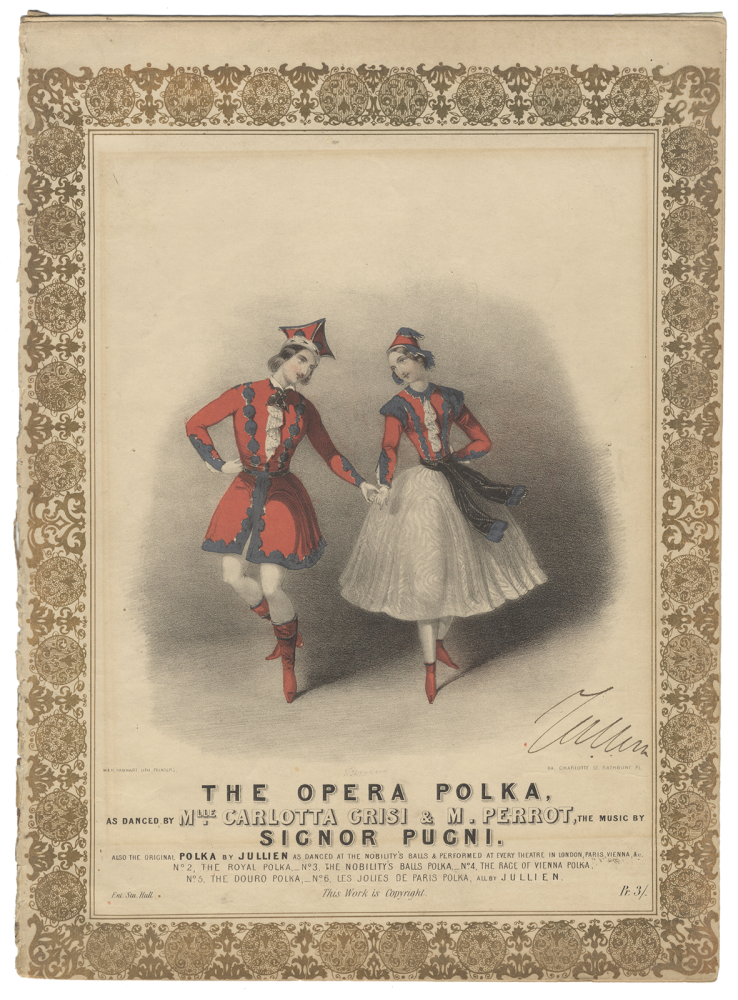 The Opera Polka, as danced by Mlle. Carlotta Grisi & M. Perrot the music by Signor Pugni. Also, the original Polka by Jullien, as danced at the Nobility's Balls & performed at every theatre in London, Paris, Vienna, &c... Pr. 3/-. Carlotta GRISI, Jules PERROT.