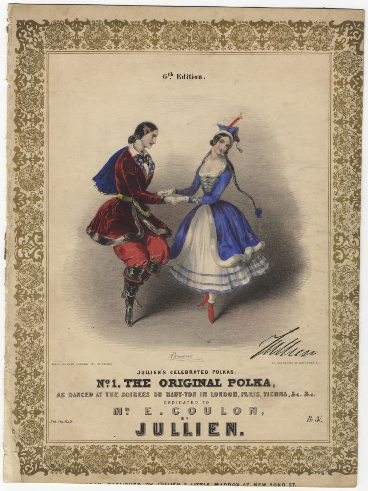 Jullien's Celebrated Polkas. No. 1, The Original Polka, as danced at the soirees du haut-ton in London, Paris, Vienna, &c. &c. Dedicated to mr. E. Coulon, by Jullien. Pr. 3/-. 6th Edition. Carlotta GRISI, Jules PERROT.