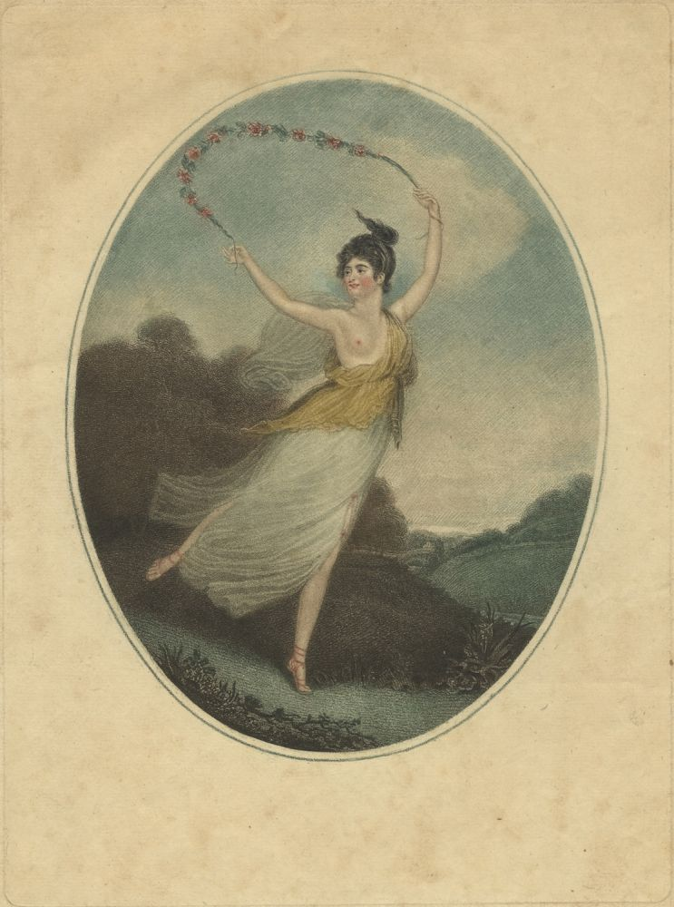 Coloured oval stipple engraving by Charles Turner (1774-1857) after John Masquerier (1778-1855) of Parisot dancing in a pastoral setting in a flowing diaphanous costume with one breast exposed, a garland of flowers above her head, full length. Proof before letters. Rose ca. 1778-after 1837 PARISOT.