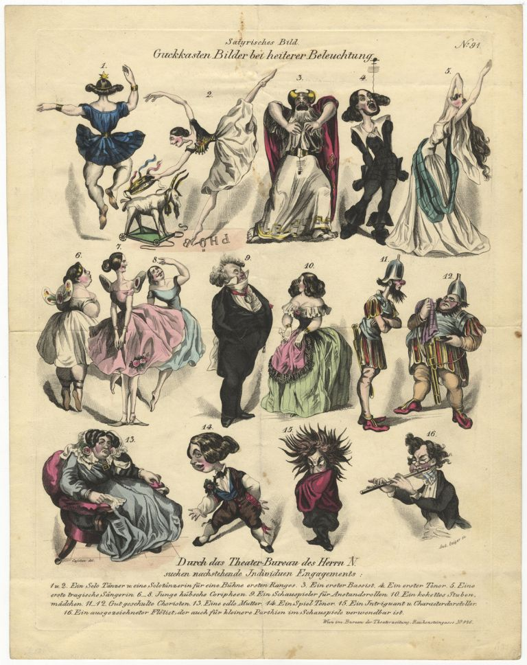 """Guckkasten Bilder bei heiterer Beleuchtung."" Hand-coloured engraving by Andreas Geiger after Cajetan satirizing ballet dancers, opera singers, and a musician. DANCE - 19th Century."