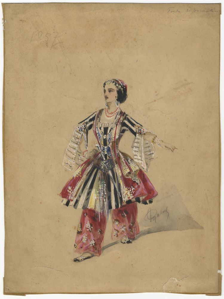 Original watercolour and gouache drawing of Richard in an unidentified ballet. From the collection of dance historian George Verdak (1923-1993). Zina RICHARD, aka Zina Mérante.