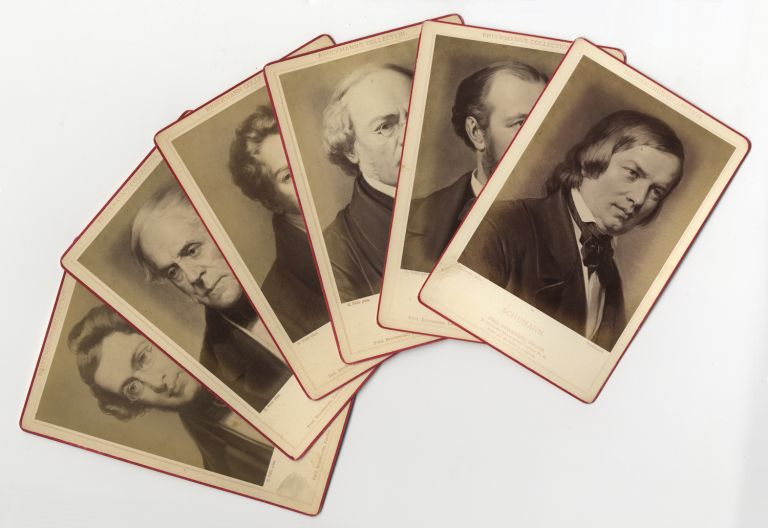 Group of 6 original cabinet card photographs of 19th century composers Adam, Auber, Boieldieu, Gounod, Halévy, and Schumann. ICONOGRAPHY - 19th Century - Composers.