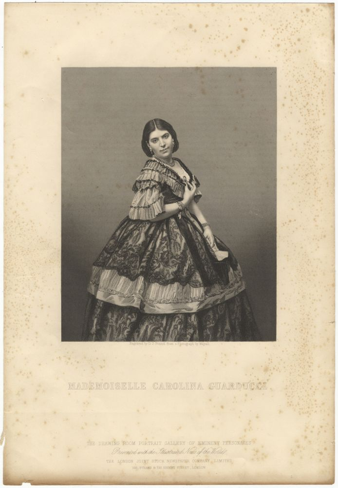 Steel engraving by D.J. Pound after a photograph by John Mayall. Three-quarter length. Carolina 1833-? GUARDUCCI.
