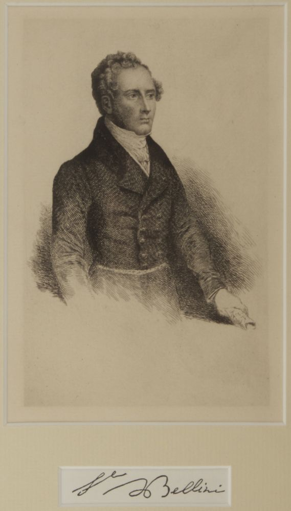 Reproduction of a bust-length portrait etching. Artist unknown. Vincenzo BELLINI.