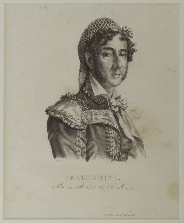Bust-length portrait lithograph after Parent of Pelligrini as Figaro in Rossini's opera Il Barbiere di Siviglia at the Théâtre Italienne. Felice PELLEGRINI.