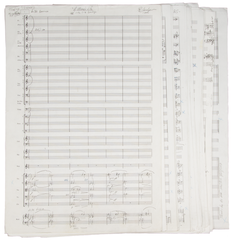 """A Woman's Life for Soprano Solo and Orchestra. Autograph musical manuscript full score signed """"R. Danielpour"""" and dated 2007 at upper right corner of page 1 and with """"Thanks be to God New York 9/25/2007"""" at conclusion. With text by the distinguished African-American poet, singer, memoirist, and civil rights activist Maya Angelou (1928-2014). Richard b. 1956 DANIELPOUR."""