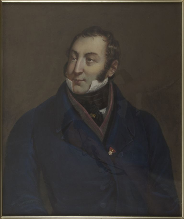 Lithographic portrait by Henry Grevedon after the painting by Lescot, overpainted in gouache and watercolour and laid down onto board. Gioachino ROSSINI.